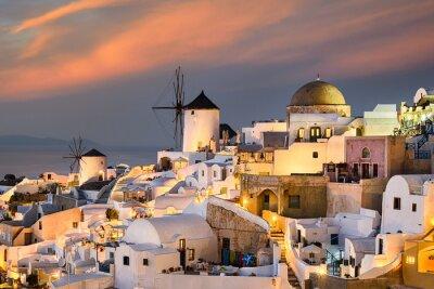 Plakat Zachód słońca w Oia, Santorini, Grecja