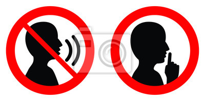 Plakat Zachowaj spokój / milcz, proszę podpisać. Crossed osoba mówi / Shhh ikona w kółko.
