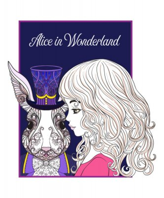Plakat Zając lub królik w kapeluszu z bajki Alice in Wonderla