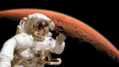 Plakat Zamknąć z astronautów w przestrzeni kosmicznej, Marsa w tle. Elementy obrazu są urządzone przez NASA