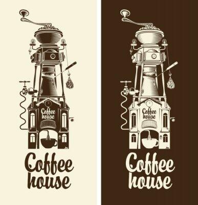 Plakat Zarejestruj retro dom kawy i szlifierka z dachu