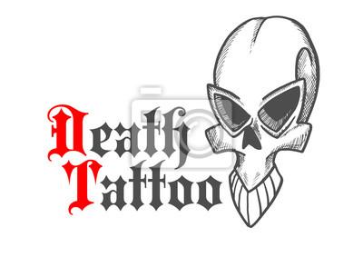Zarysowane czaszki starożytnego potwora lub demon