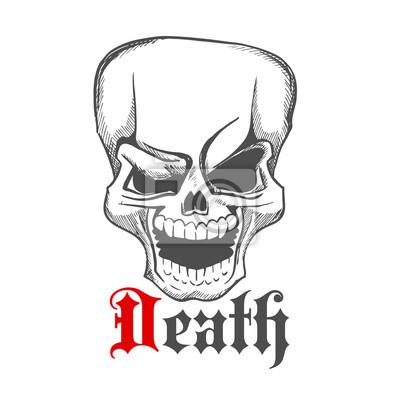 Zarysowane nieprzyjemnie śmiać human ikona czaszki