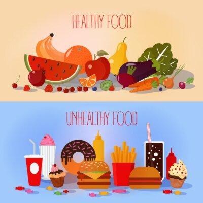 Plakat Zdrowa żywność i niezdrowy fast food