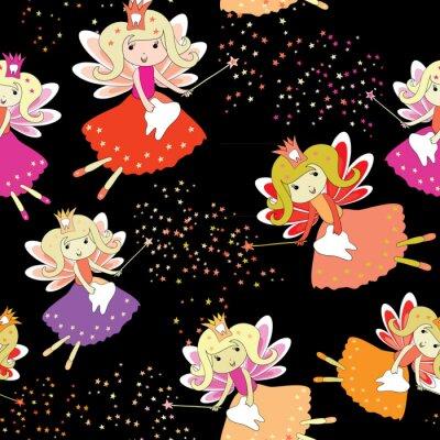 Plakat Zębowe wróżki z magicznymi różdżkami i gwiazdami. Bezszwowy wzór. Ilustracja wektorowa na czarnym tle