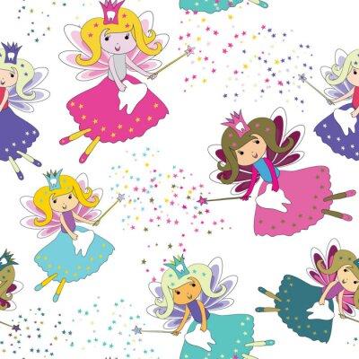 Plakat Zębowe wróżki z magicznymi różdżkami i gwiazdami wokół. Bezszwowy wzór. Ilustracja wektorowa na białym tle