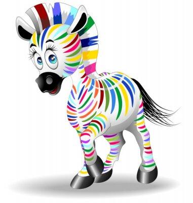Plakat Zebra Cartoon Quadricromia-Four Process Kolor Zebra-Vector