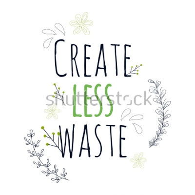 Plakat Zero Waste Concept. Hand drawn elements of zero waste life. Zero waste concept card. Good for posters, banners, web design, cards. Vector illustration.