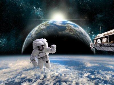 Plakat Zespół astronautów pracy na stacji kosmicznej - Elementy tego zdjęcia dostarczone przez NASA.
