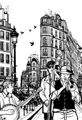 Plakat Zespół jazzowy w ulicy Paryża