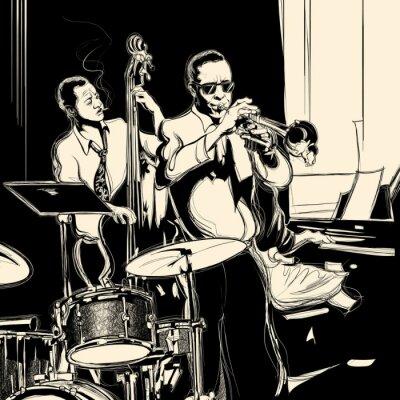 Plakat Zespół jazzowy z kontrabas fortepian i trąbkę bębna