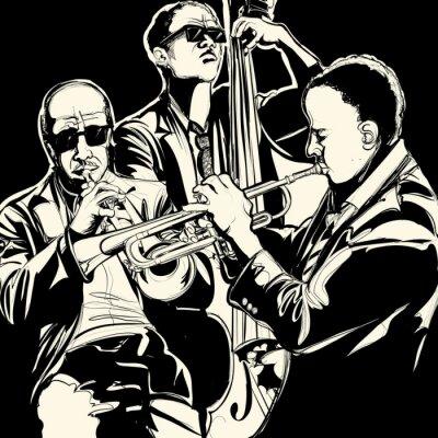 Plakat zespół jazzowy z trąbką i kontrabas