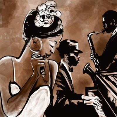 Plakat Zespół jazzowy z wokalistą, saksofon i fortepian - ilustracja
