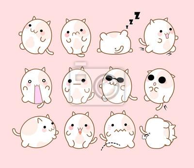Zestaw 12 kotów z różnych emocji ręcznie. Śliczna emoticon kota.