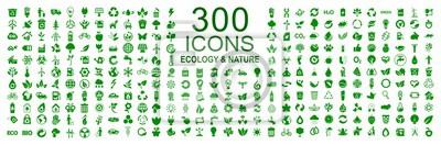 Plakat Zestaw 300 ikon ekologii - wektor czas
