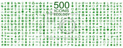 Plakat Zestaw 500 ikon ekologii - wektor czas