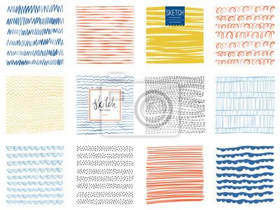 Plakat Zestaw bazgrołów i abstrakcyjne tekstury tła kwadratowych. ilustracji wektorowych.