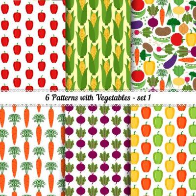 Plakat Zestaw bez szwu desenie z różnych warzyw