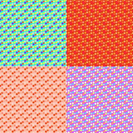 Zestaw bez szwu wzór kolorów z polka, składa się z kształtów.