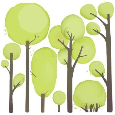 Plakat Zestaw cartoon Akwarela Drzewa