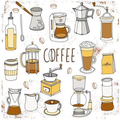 Plakat Zestaw do kawy. Wyciągnąć rękę kolekcja