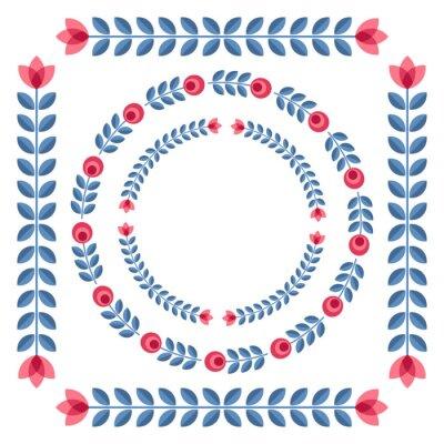 Plakat Zestaw elementów projektu - okrągłe ramki kwiatowe