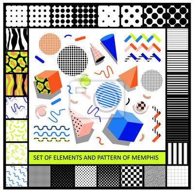 Zestaw elementów stylu retro geometryczny Memphis i bezproblemową Abstr