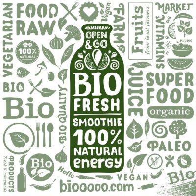 Plakat Zestaw etykiet ikon organicznych i naturalnych produktów spożywczych bio