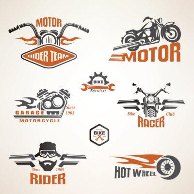 Plakat Zestaw etykiet rocznika motocykla, odznaki i elementy projektu