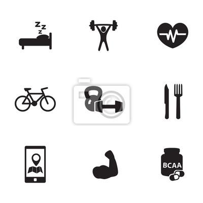 zestaw ikon fitness i kulturystyki