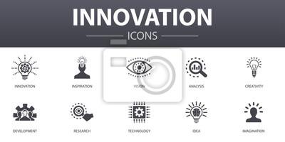 Plakat Zestaw ikon prostych koncepcji innowacji. Zawiera takie ikony, jak inspiracja, wizja, kreatywność, rozwój i inne, które mogą być wykorzystane w sieci, logo, UI / UX