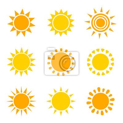 Plakat Zestaw ikon słońce pomarańczowy i żółty