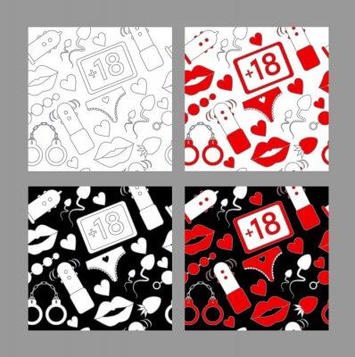 zestaw ikon wzór linii na sex shop lub Walentynki