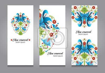Zestaw kart lub banner projektu, etno kwiatowy ornament