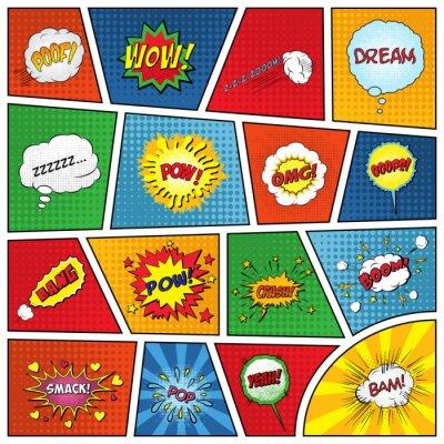 Plakat Zestaw komiksów efekty dźwiękowe