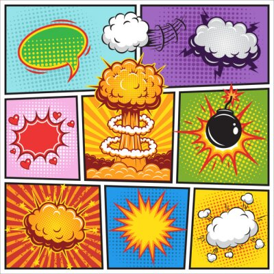 Plakat Zestaw komiksów i wybuchu Mowa pęcherzyki 2