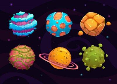 Plakat Zestaw kreskówek fantasy planety