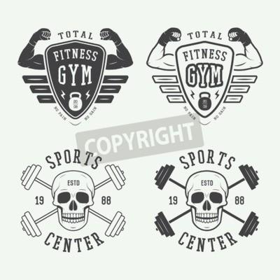 Plakat Zestaw logo siłowni, etykiet i znaczków w stylu vintage