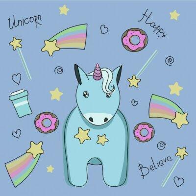 Plakat Zestaw naklejek z jednorożcem, słodyczami i gwiazdkami.