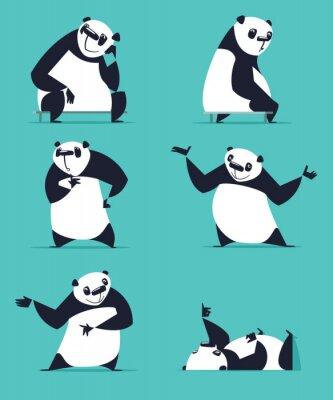 Plakat Zestaw Panda w różnych pozach. Siedząc, sny, myśli, pokazując, kłamstwa, zachęcający, obracając. Każda Panda jest w osobnej warstwie.
