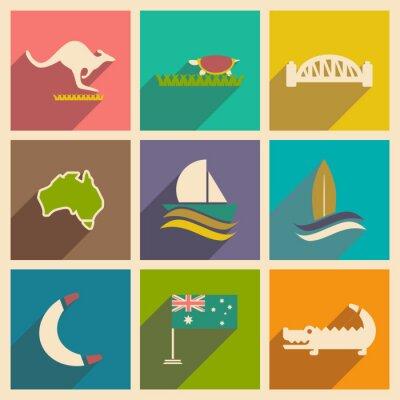 Plakat Zestaw płaskich ikon z długim cieniem Australijczyka