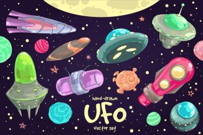 Plakat Zestaw ręcznie rysowane UFO