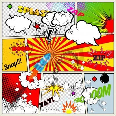 Plakat Zestaw Retro Comic Book Wektor projektowania elementów, mowy i myśli Bubbles