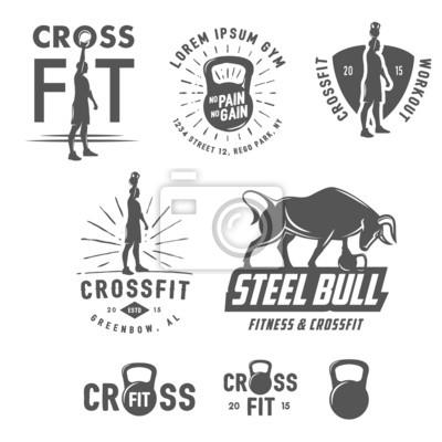 Plakat Zestaw rocznika emblematy CrossFit i elementów konstrukcyjnych