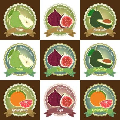 Plakat Zestaw różnych świeżych owoców najwyższej jakości naklejki Etykieta odznaka