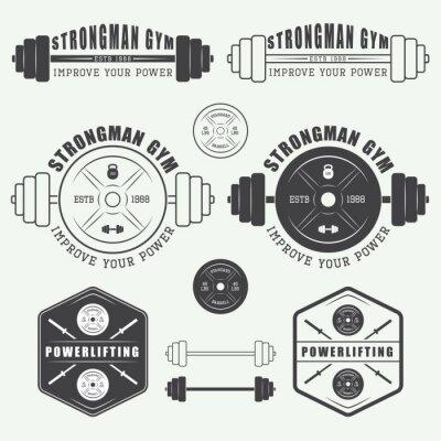 Plakat Zestaw siłownia logo, etykiety, odznaki i elementów w stylu vintage