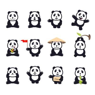 Plakat Zestaw ślicznych zabawnych kreskówek pand