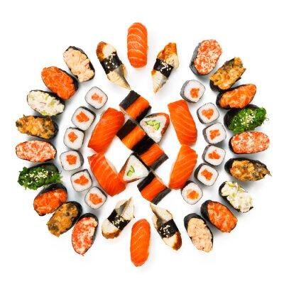 Plakat Zestaw sushi, maki, Gunkan i bułki odizolowane na białym