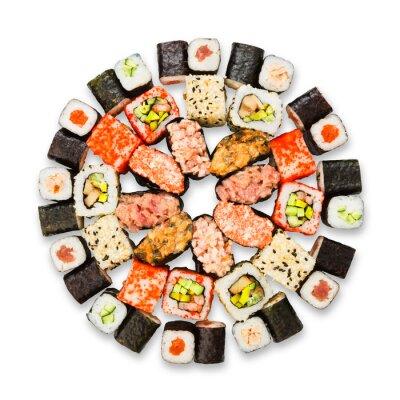 Plakat Zestaw sushi, maki i bułki odizolowane na białym