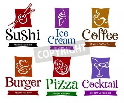 Plakat Zestaw symboli wektorowych i tytułów do żywności i napojów projektu.